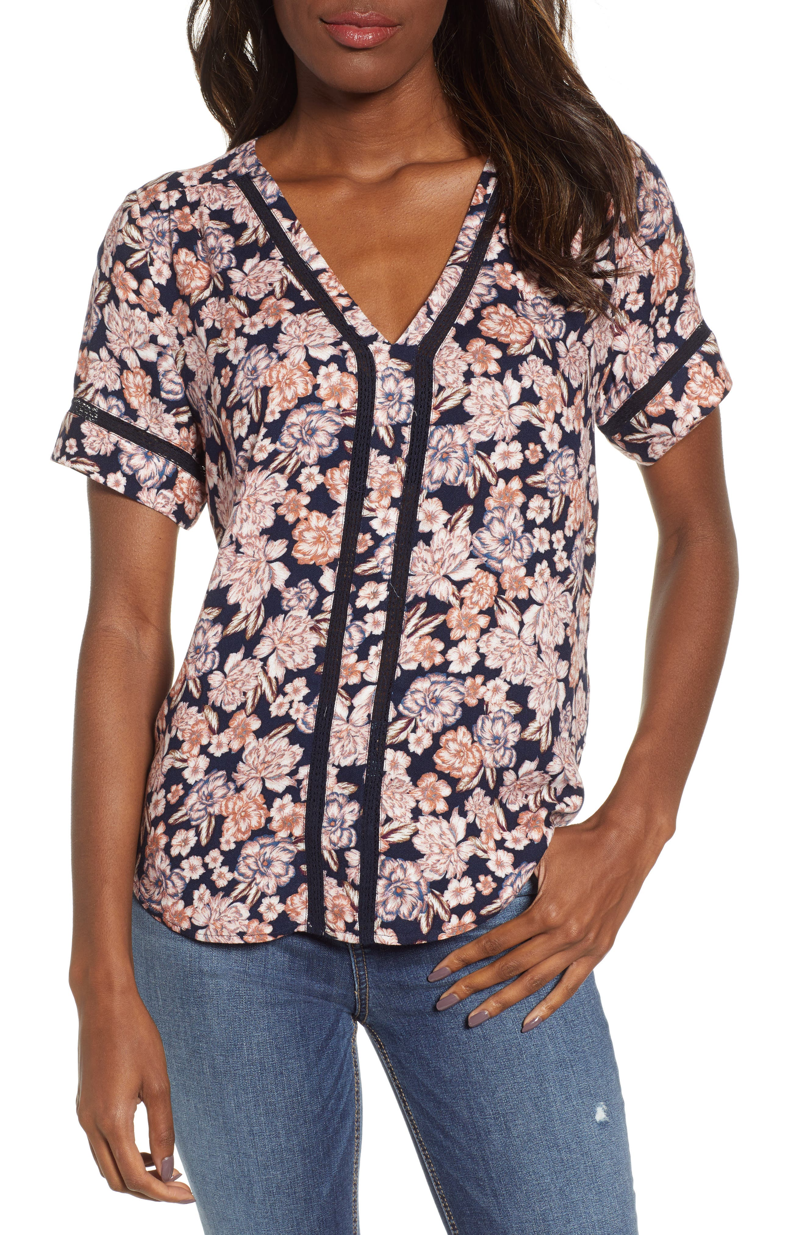 Pullover V-Neck Blouse, Main, color, NAVY NIGHT ROMANTIC BLOOMS