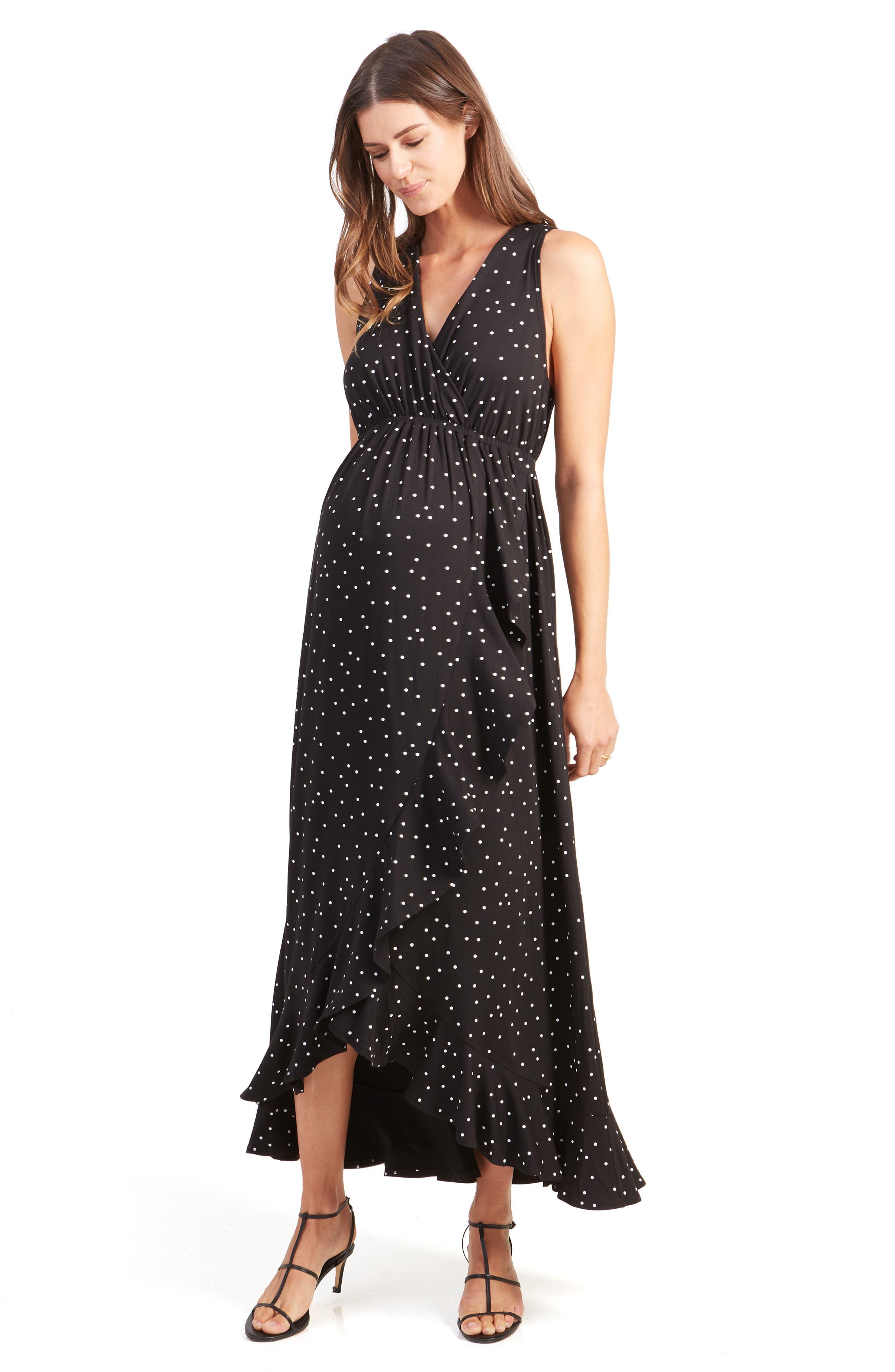 ,                             Active Racerback Ruffle Maternity Maxi Dress,                             Alternate thumbnail 5, color,                             BLACK POLKA DOT PRINT
