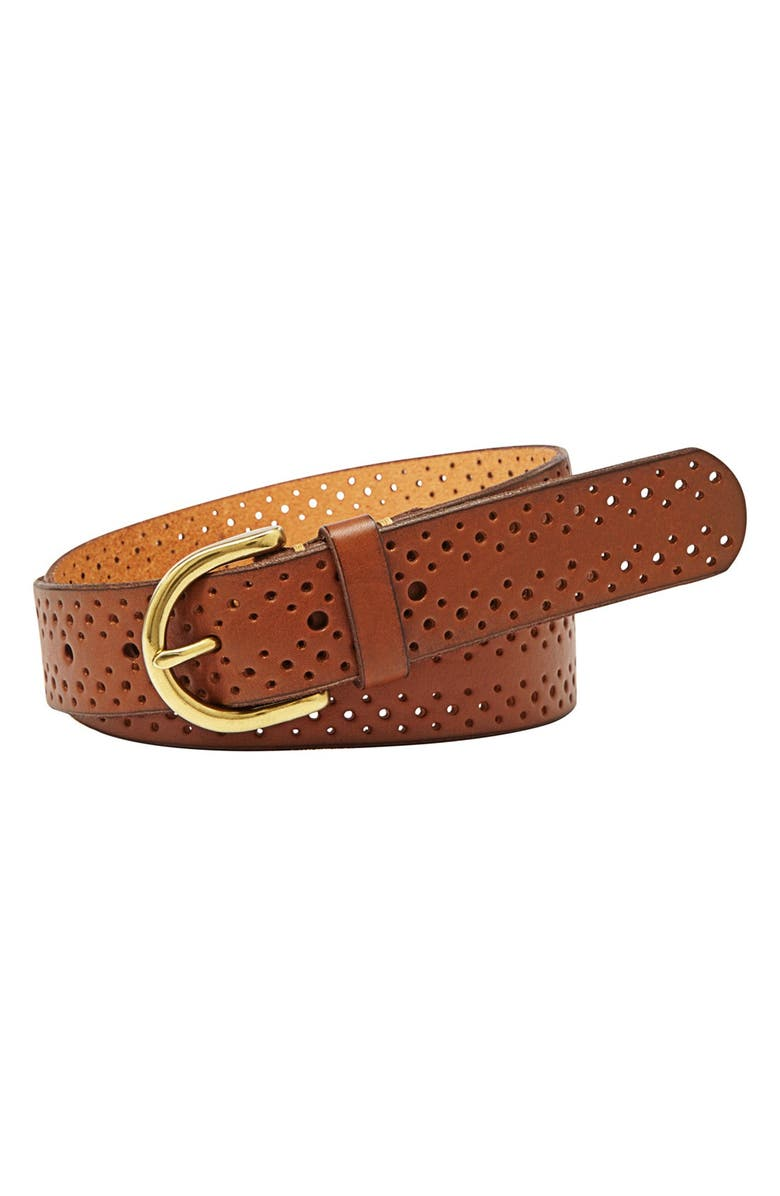 FOSSIL Perforated Leather Belt, Main, color, 250