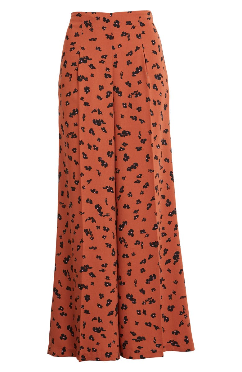 LEITH Pleated Pants, Main, color, RUST CLAY FLORAL DRIFT