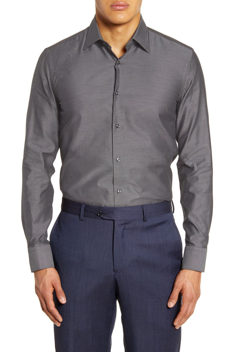 BOSS Slim Fit Solid Dress Shirt, Main, color, 020