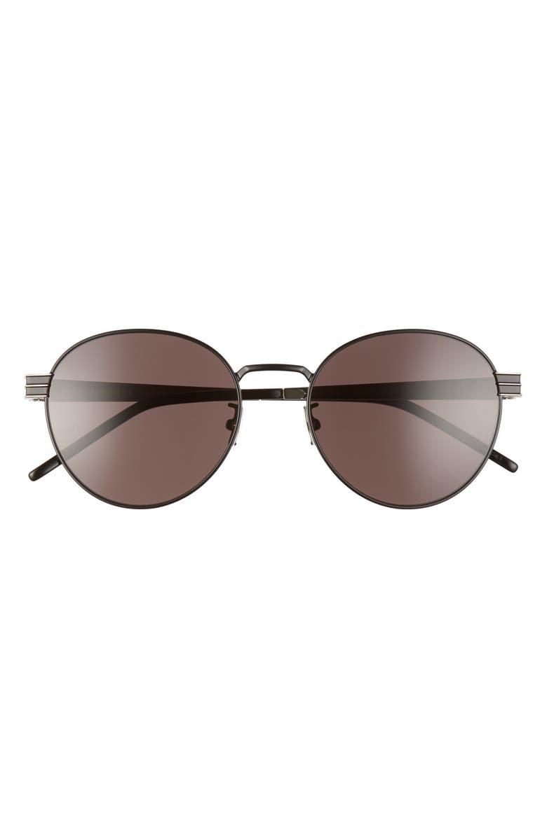 SAINT LAURENT 55mm Oval Sunglasses, Main, color, SEMI MATTE/ BLACK