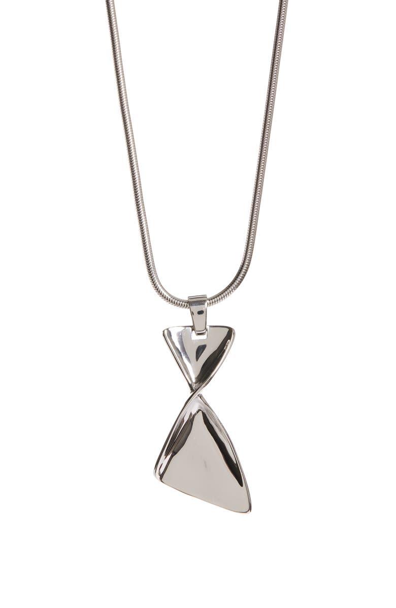 ST. JOHN COLLECTION Twist Metal Long Pendant Necklace, Main, color, RHODIUM