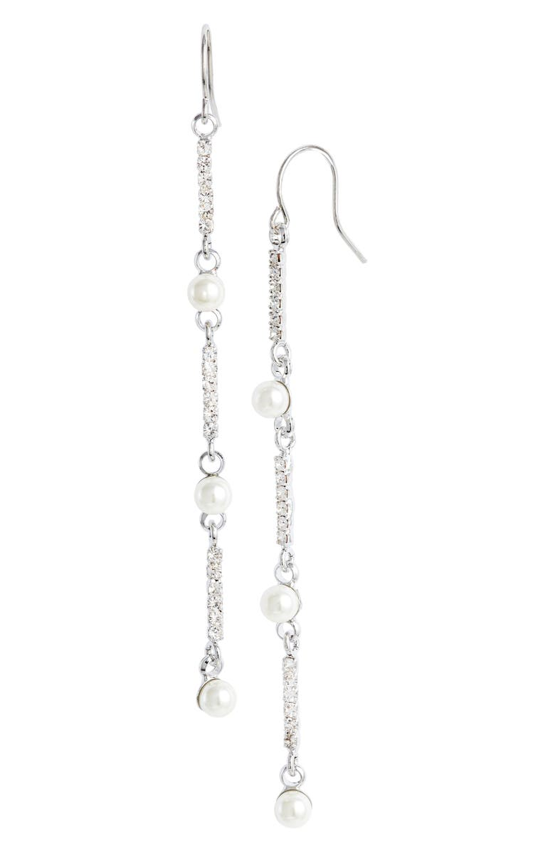 CRISTABELLE Imitation Pearl & Crystal Linear Earrings, Main, color, CRYSTAL/ SILVER
