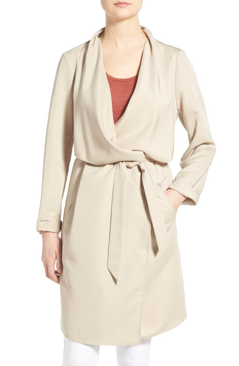 KENSIE Belted Drape Front Trench Coat, Main, color, 253