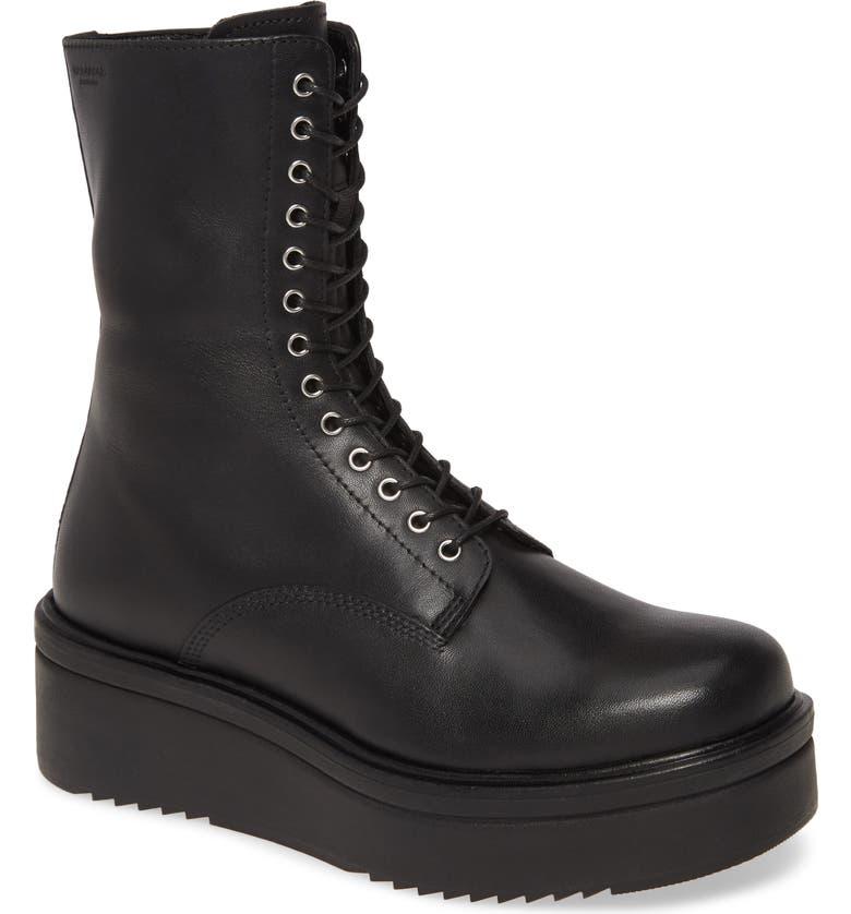 VAGABOND SHOEMAKERS Tara Lace-Up Boot, Main, color, BLACK LEATHER