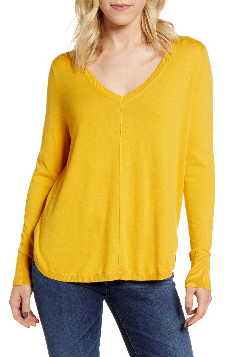 CASLON<SUP>®</SUP> High-Low V-neck Sweater, Main, color, YELLOW ROD