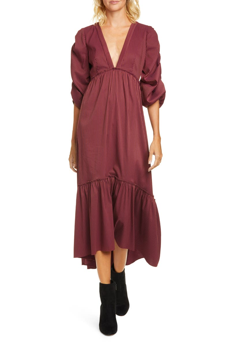 LA LIGNE Pinstripe Plunge Neck Cotton Blend Dress, Main, color, BURGUNDY