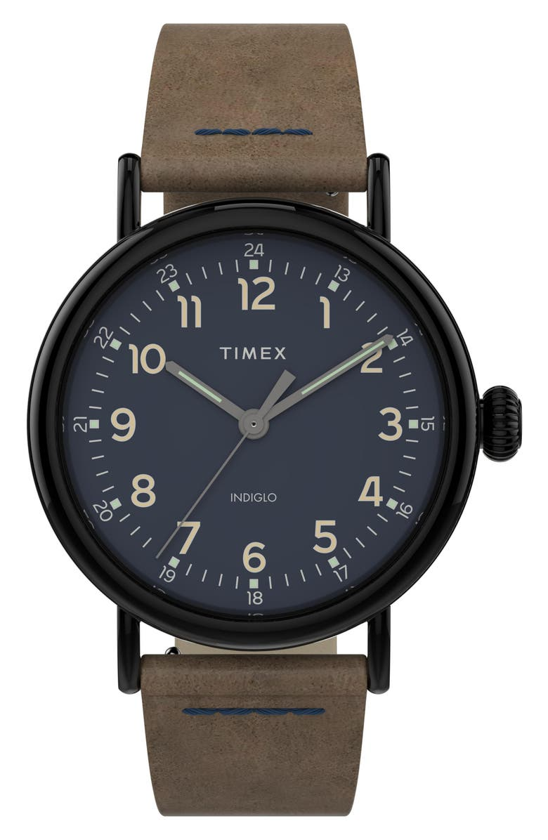 TIMEX<SUP>®</SUP> Standard Leather Strap Watch, 40mm, Main, color, BROWN/ BLUE/ GUNMETAL