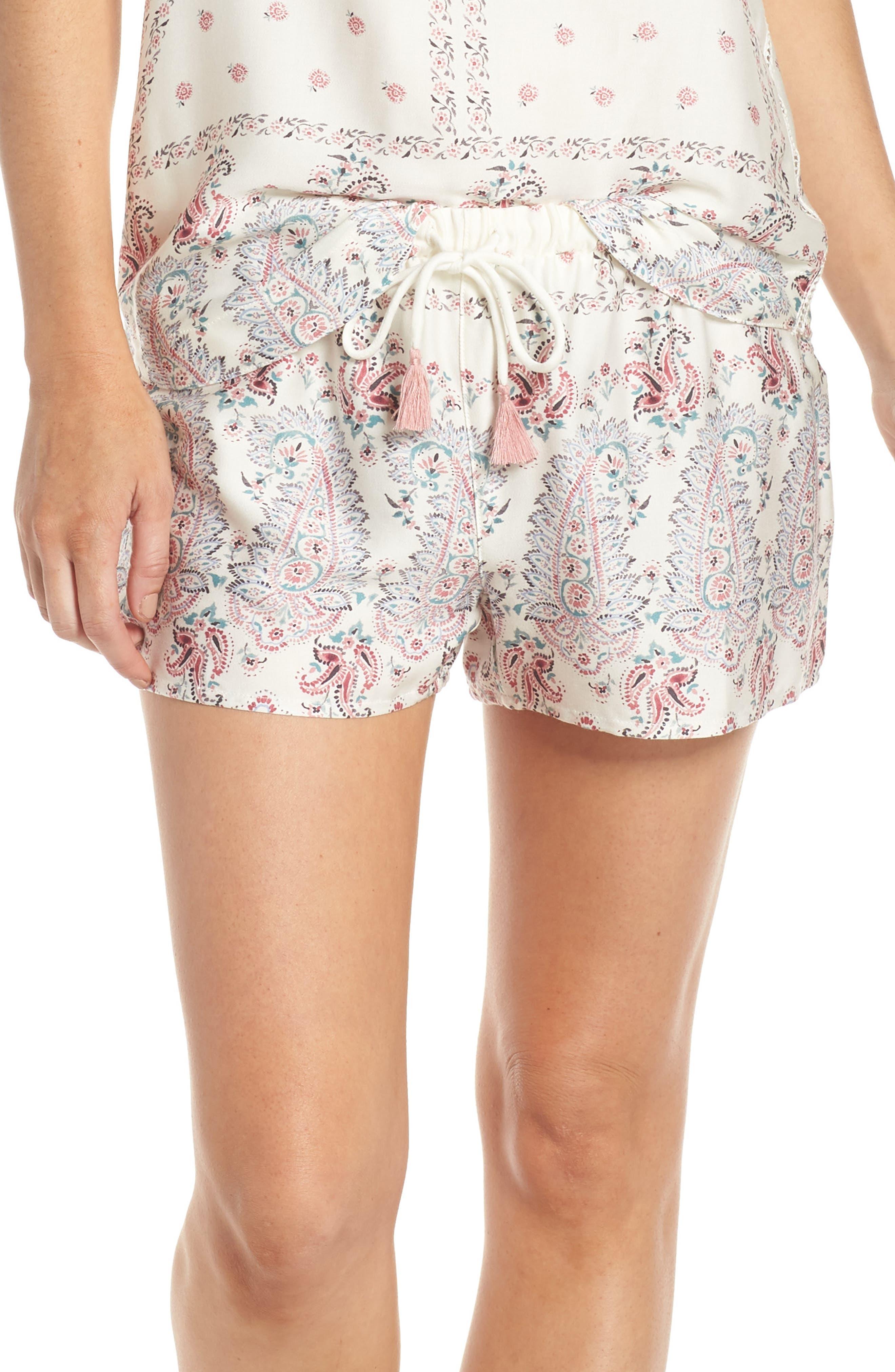Pj Salvage Paisley Park Pajama Shorts, White