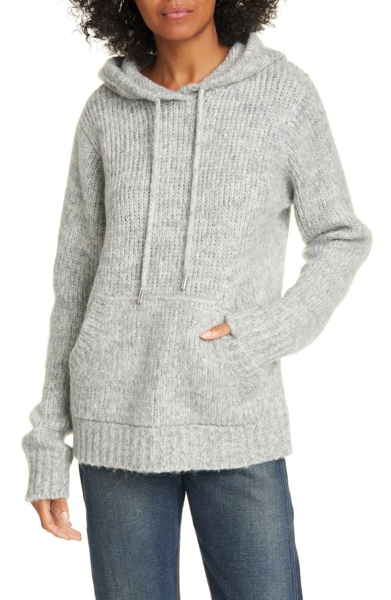 HELMUT LANG Ghost Marl Hoodie Sweater, Main, color, ASH MELANGE