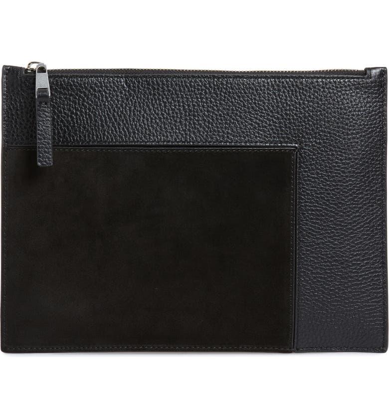 TREASURE & BOND Dani Suede & Leather Pouch, Main, color, 001