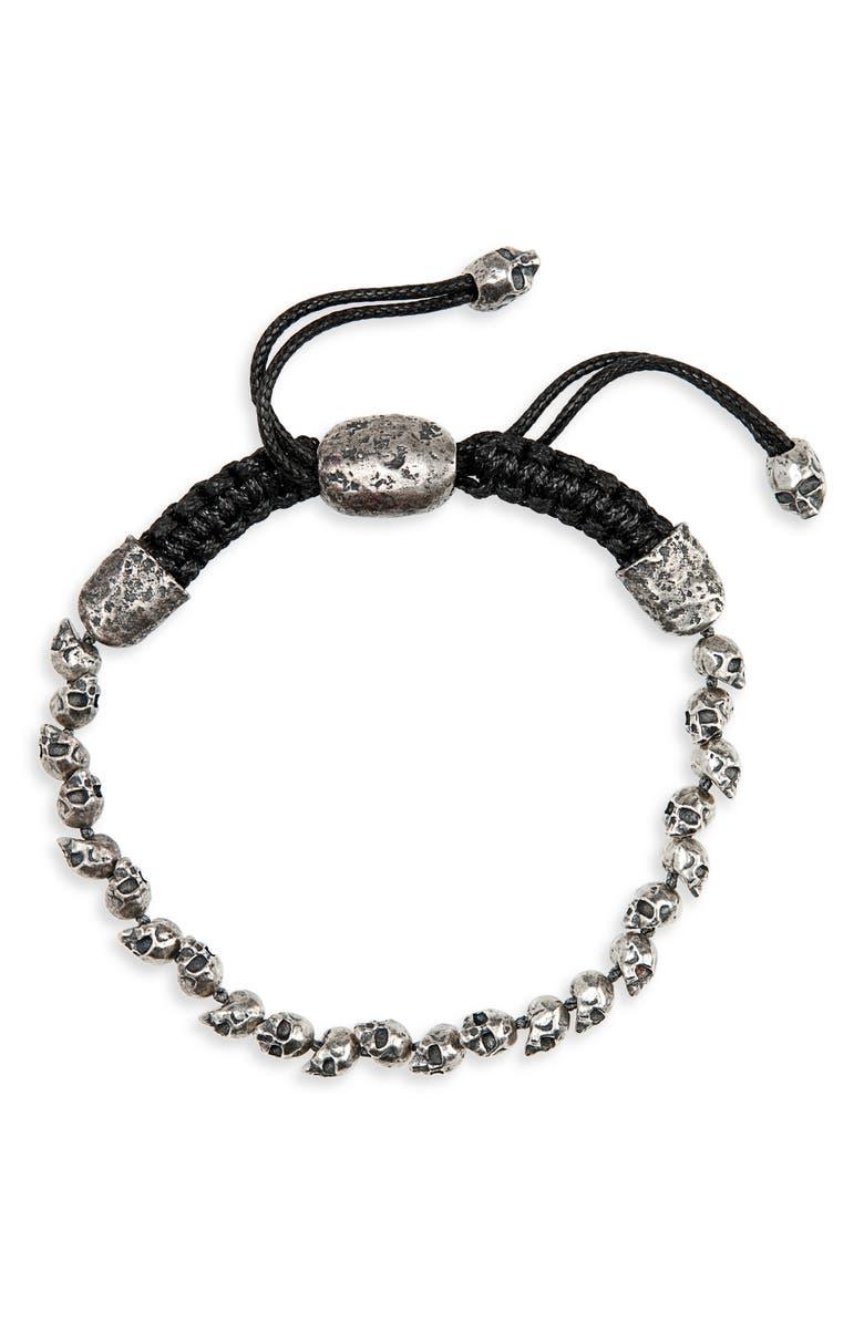 JOHN VARVATOS Skull Bead Bracelet, Main, color, METALLIC SILVER