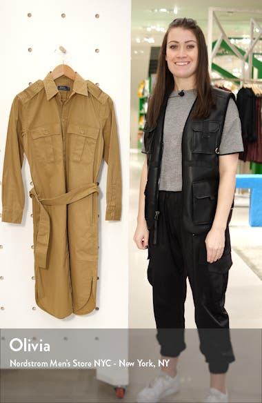 Nacy Long Sleeve Cotton Chino Shirtdress, sales video thumbnail