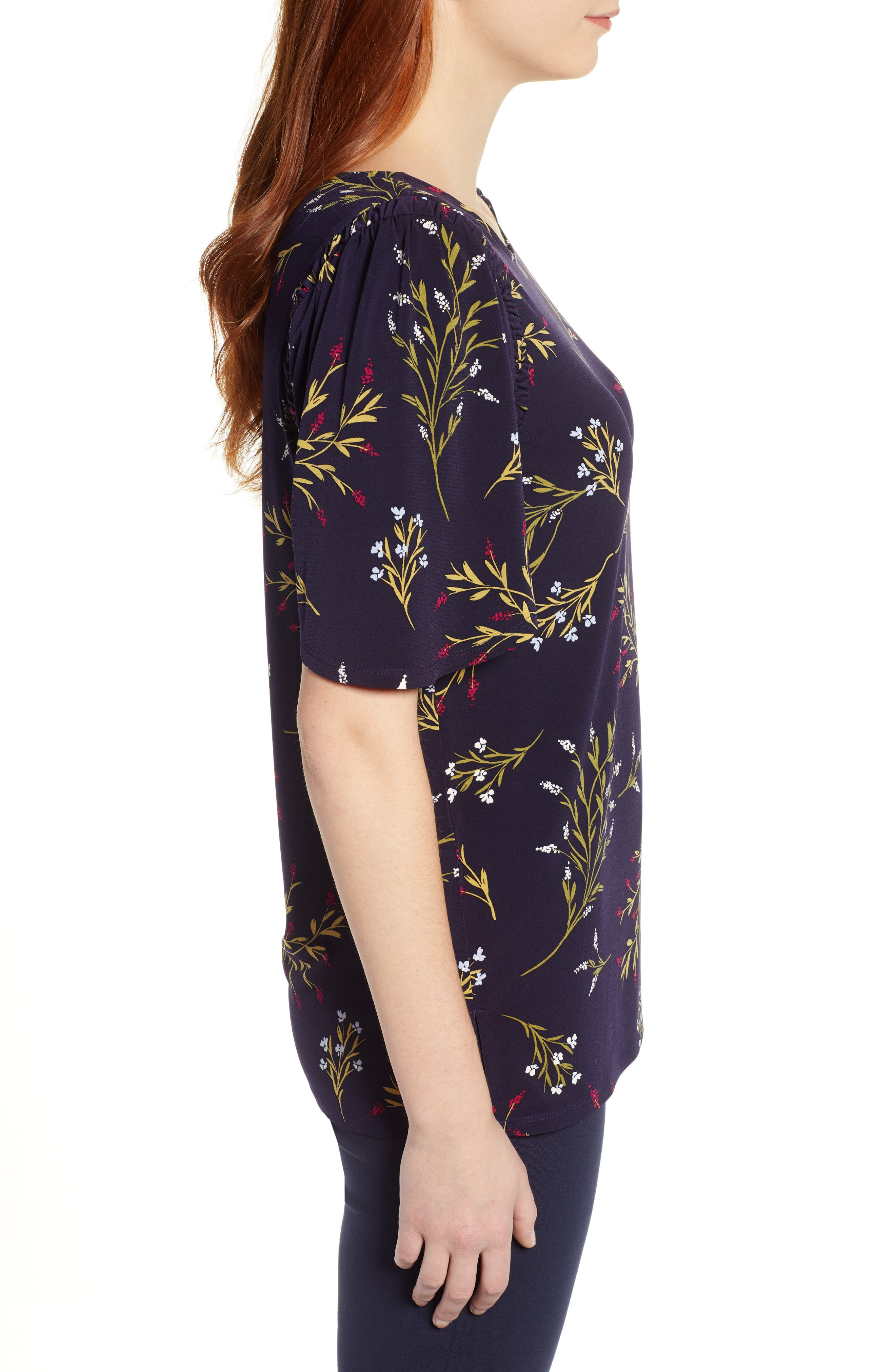 ,                             Trailing Bouquet Flutter Sleeve Top,                             Alternate thumbnail 3, color,                             EVENING NA