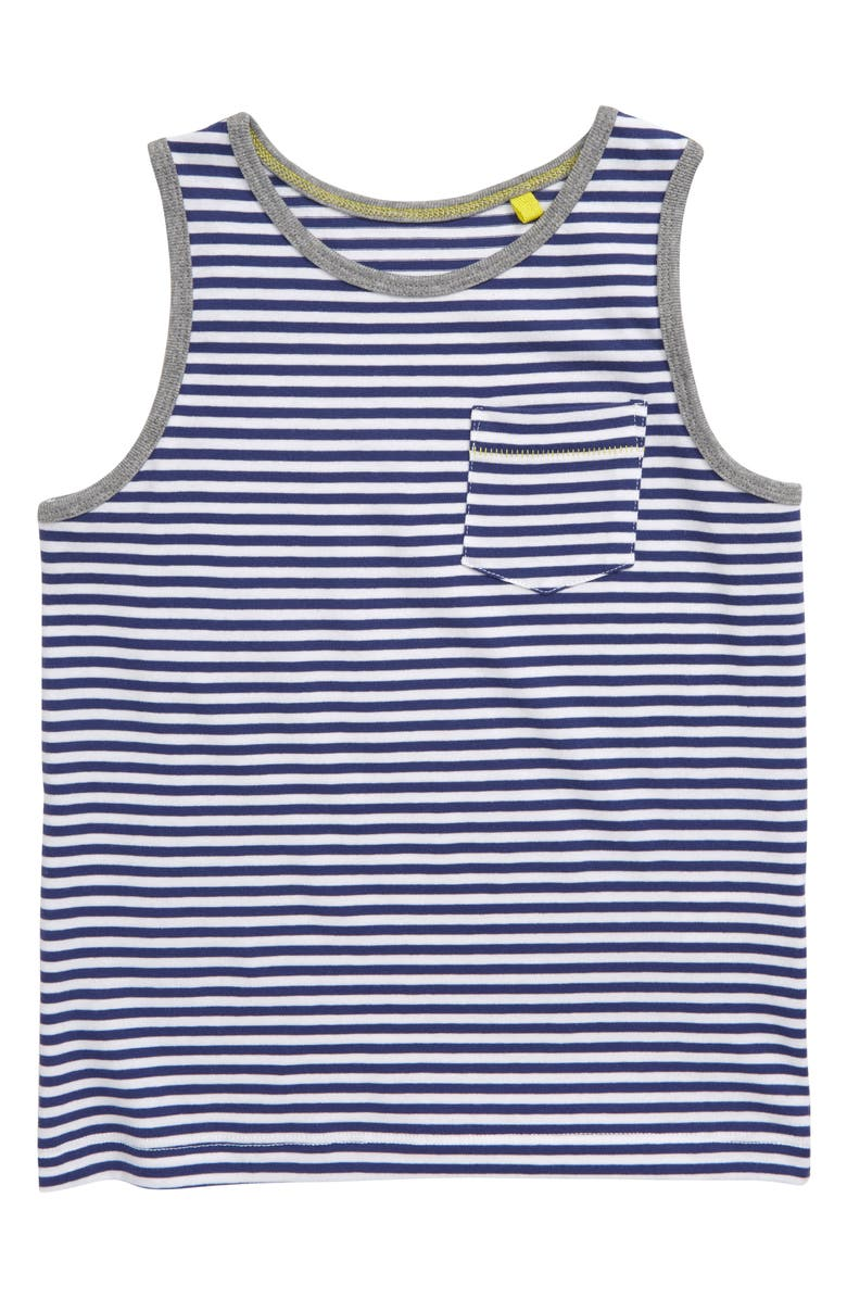 MINI BODEN Stripy Tank, Main, color, WHITE/ STARBOARD BLUE