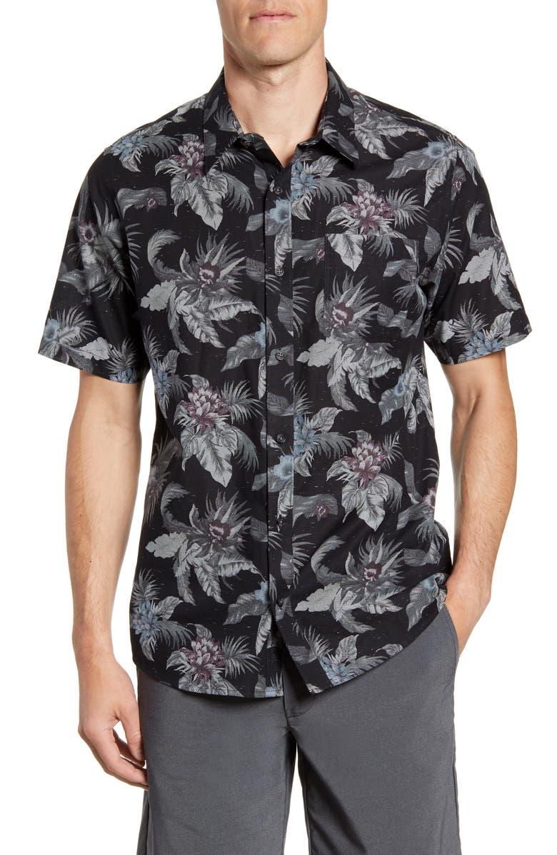TRAVISMATHEW All Mine Regular Fit Floral Short Sleeve Button-Up Shirt, Main, color, BLACK
