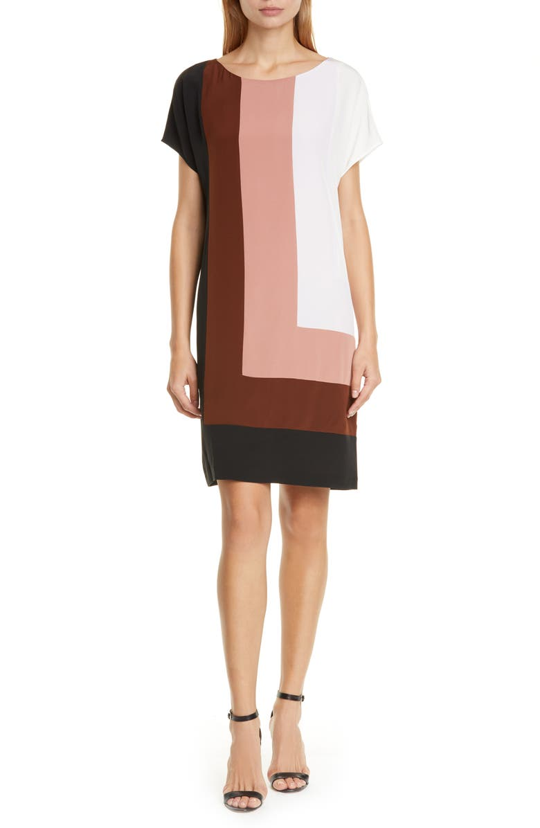 DVF Danika Colorblock Silk Shift Dress, Main, color, 100
