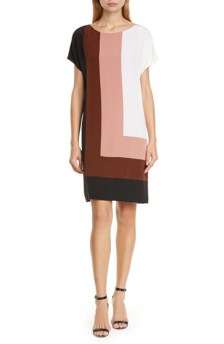 DVF Danika Colorblock Silk Shift Dress, Main, color, BURLWOOD MULTI
