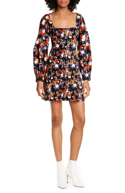 Staud Dresses CHANDLER FLORAL VELVET LONG SLEEVE MINIDRESS