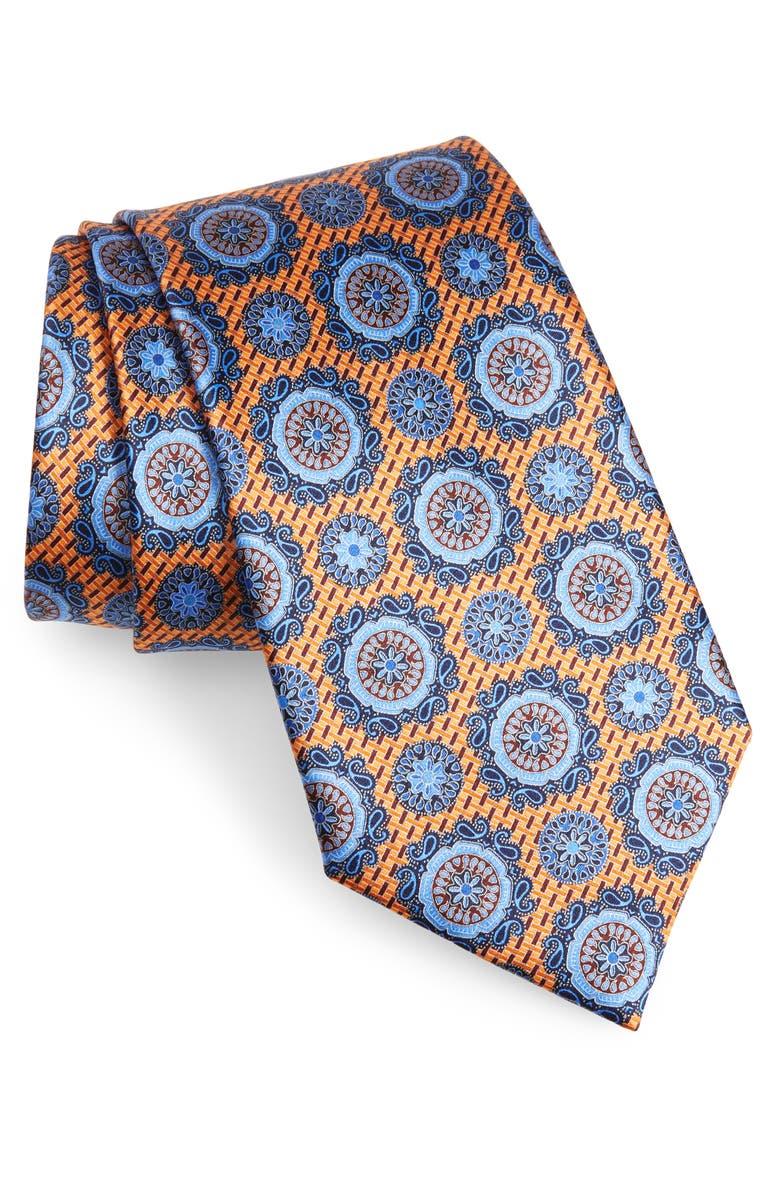 ERMENEGILDO ZEGNA Medallion Silk Tie, Main, color, YELLOW