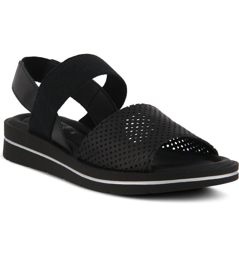 SPRING STEP Travel Sandal, Main, color, BLACK LEATHER