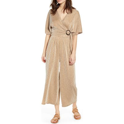All In Favor Wrap Front Wide Leg Jumpsuit, Brown