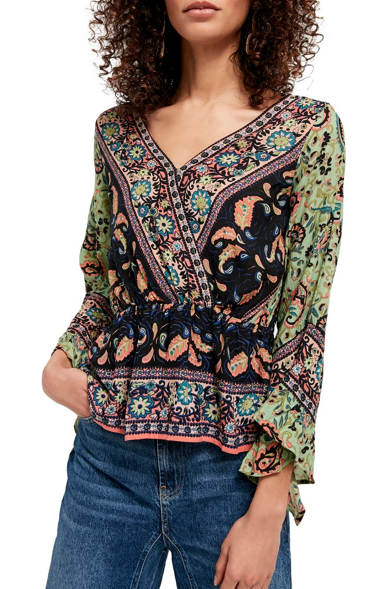FREE PEOPLE Rosalie Bell Sleeve Faux Wrap Top, Main, color, SLATE COMBO