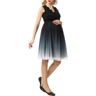 Kimi And Kai Steffy Ombre Chiffon & Lace Maternity Dress, Black