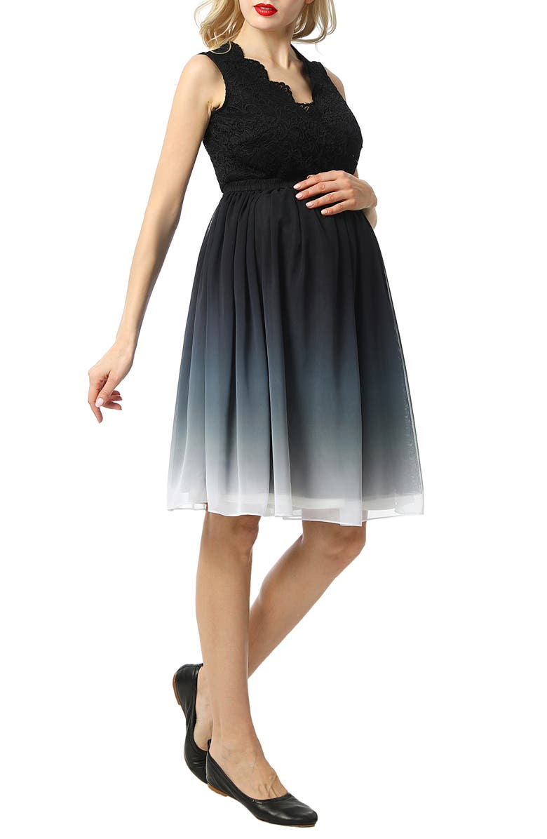 KIMI AND KAI Steffy Ombré Chiffon & Lace Maternity Dress, Main, color, BLACK/ WHITE