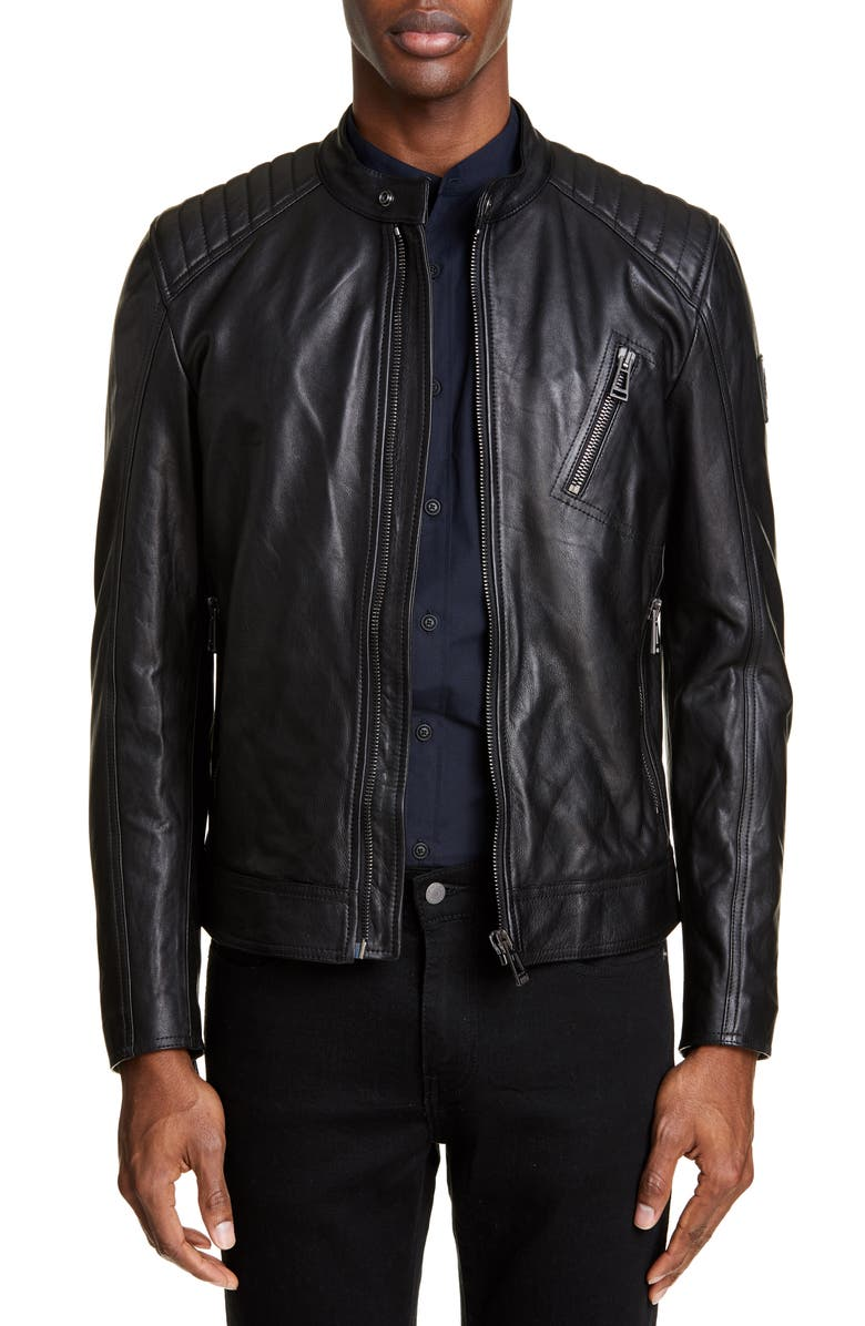 BELSTAFF V Racer Trim Fit Leather Jacket, Main, color, BLACK