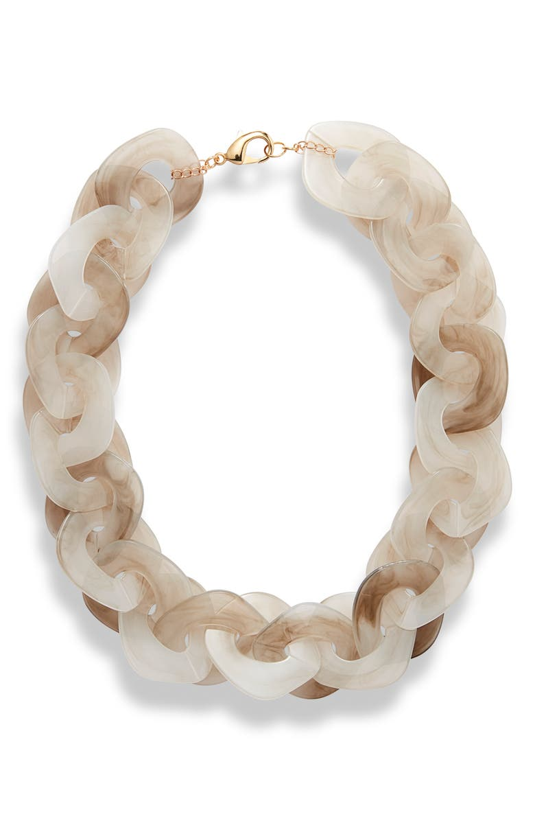 KNOTTY Disc Collar Necklace, Main, color, GREY MARBLE