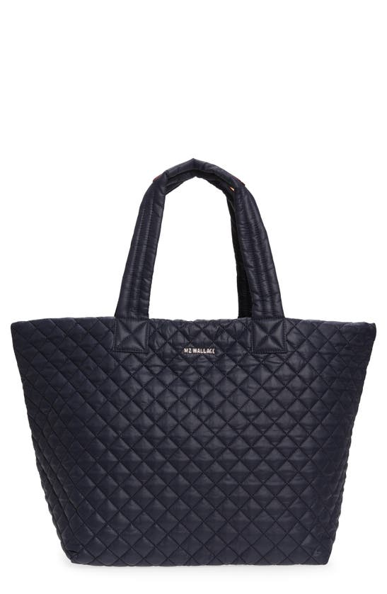 Mz Wallace Metro Large Quilted Tote Bag In Navy Blue