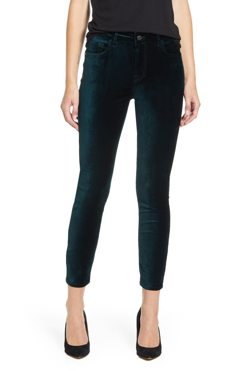 JEN7 BY 7 FOR ALL MANKIND Stretch Velvet Ankle Skinny Jeans, Main, color, BLACKENED EMERALD