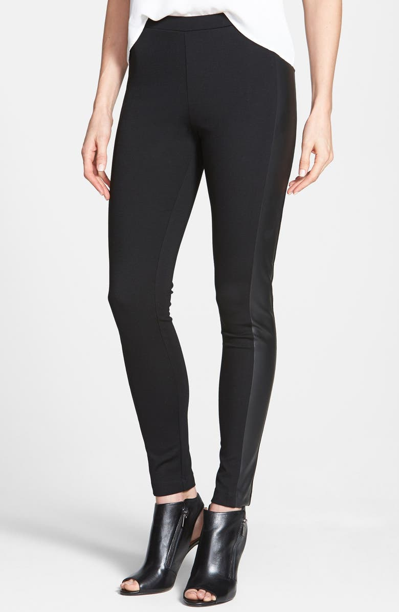 TWO BY VINCE CAMUTO Faux Leather Trim Leggings, Main, color, 001