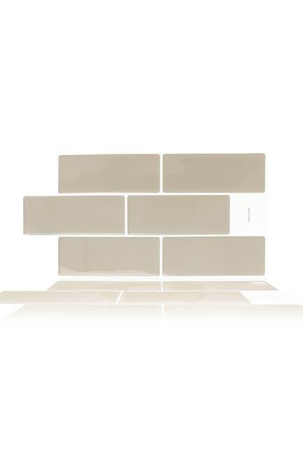 "Image of WalPlus Warm Mocha Glossy 3D Sticker Tile - 30.5cm x 15.4cm (12"" x 6"") - 12-Piece in a pack"