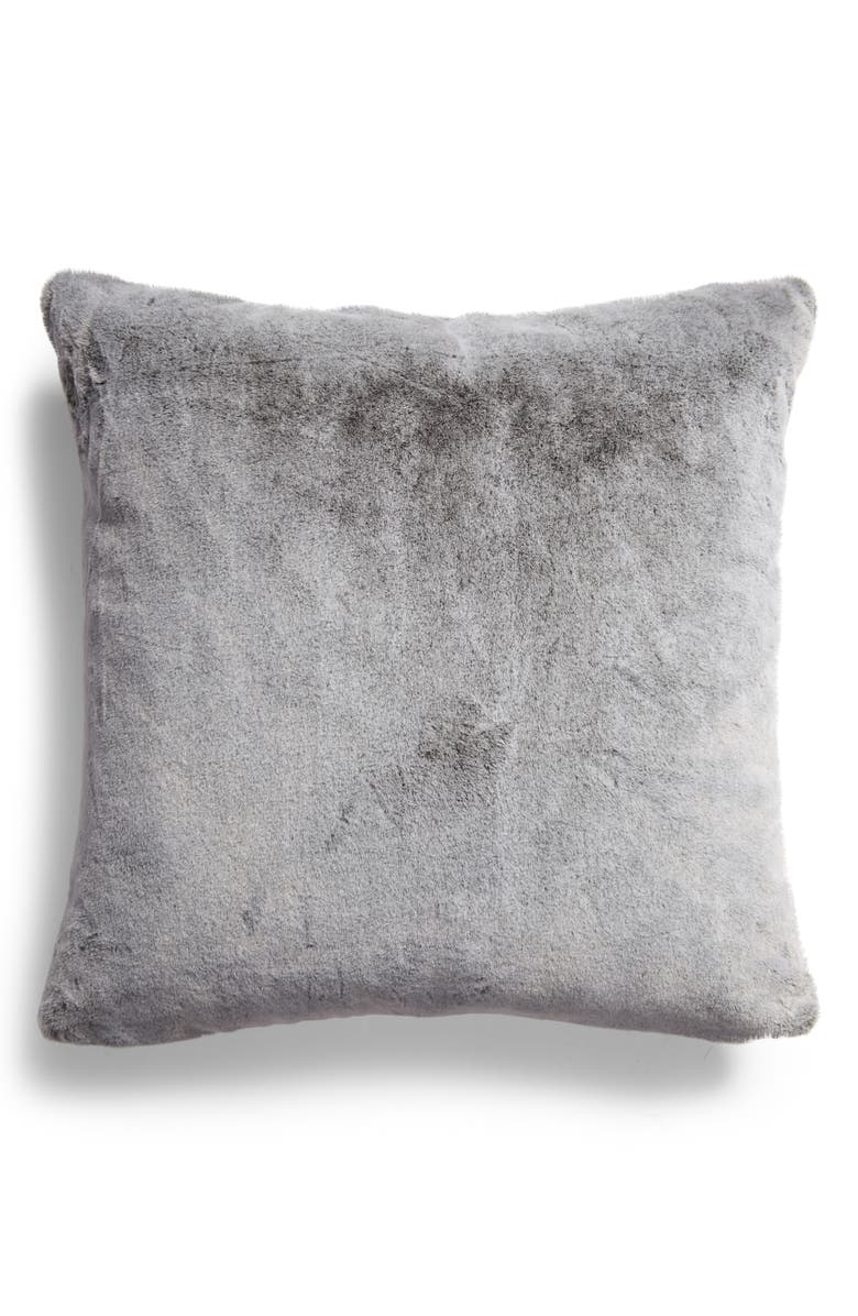 NORDSTROM Tipped Faux Mink Accent Pillow, Main, color, GREY ONYX MULTI