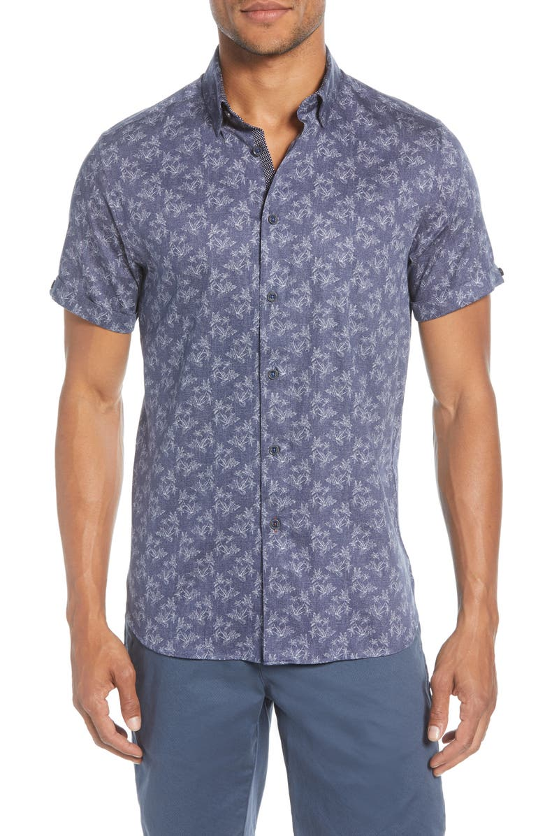 TED BAKER LONDON Sunflur Slim Fit Leaf Print Short Sleeve Button-Down Shirt, Main, color, NAVY