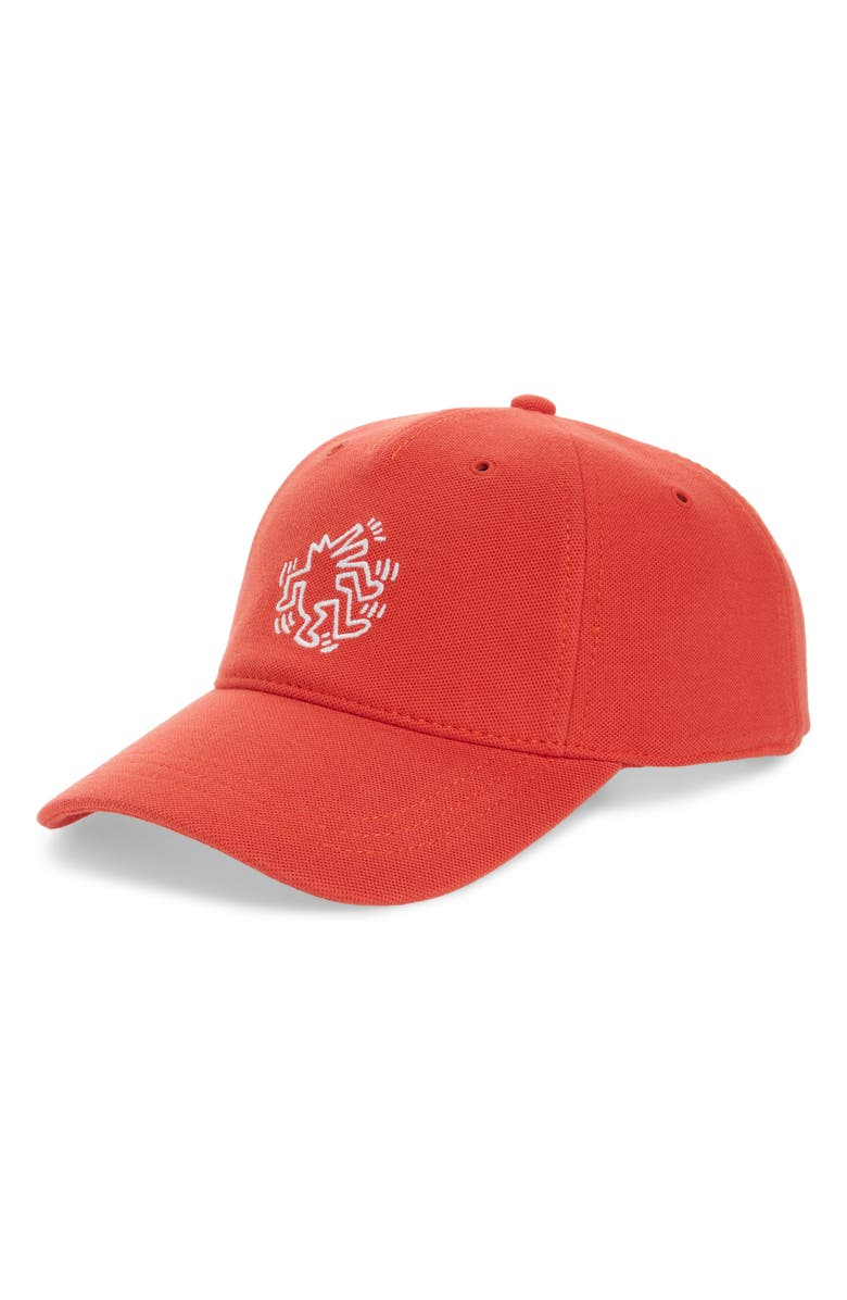 LACOSTE x Keith Haring Graphic Piqué Cap, Main, color, RED