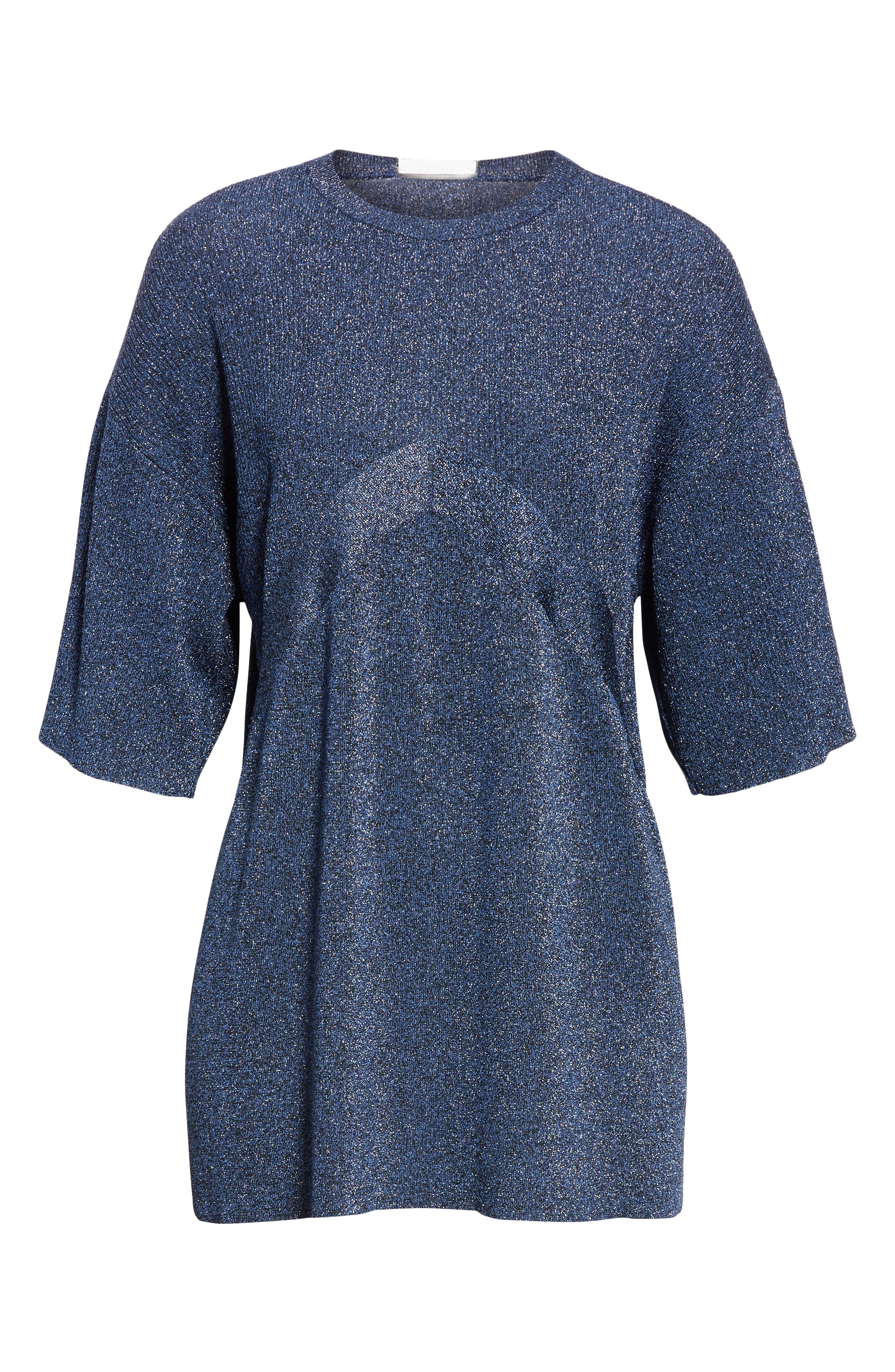 ,                             Metallic Knit Sweater,                             Alternate thumbnail 7, color,                             BLUE