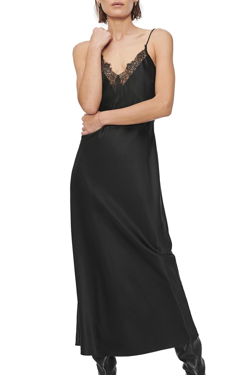 ANINE BING Katy Lace Trim Silk Satin Slipdress, Main, color, 001
