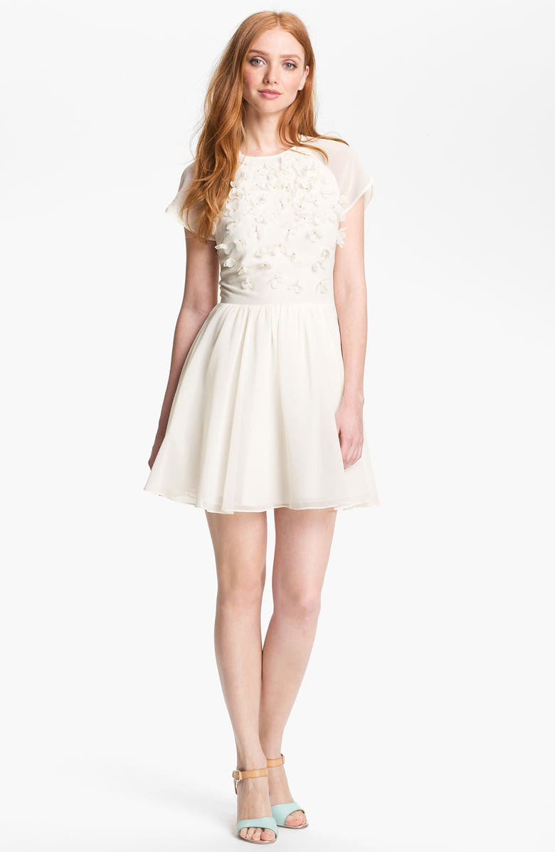 TED BAKER LONDON Organza Fit & Flare Dress, Main, color, 106