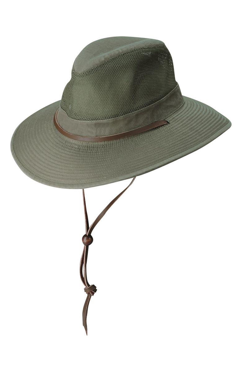 DORFMAN PACIFIC Brushed Twill Safari Hat, Main, color, OLIVE