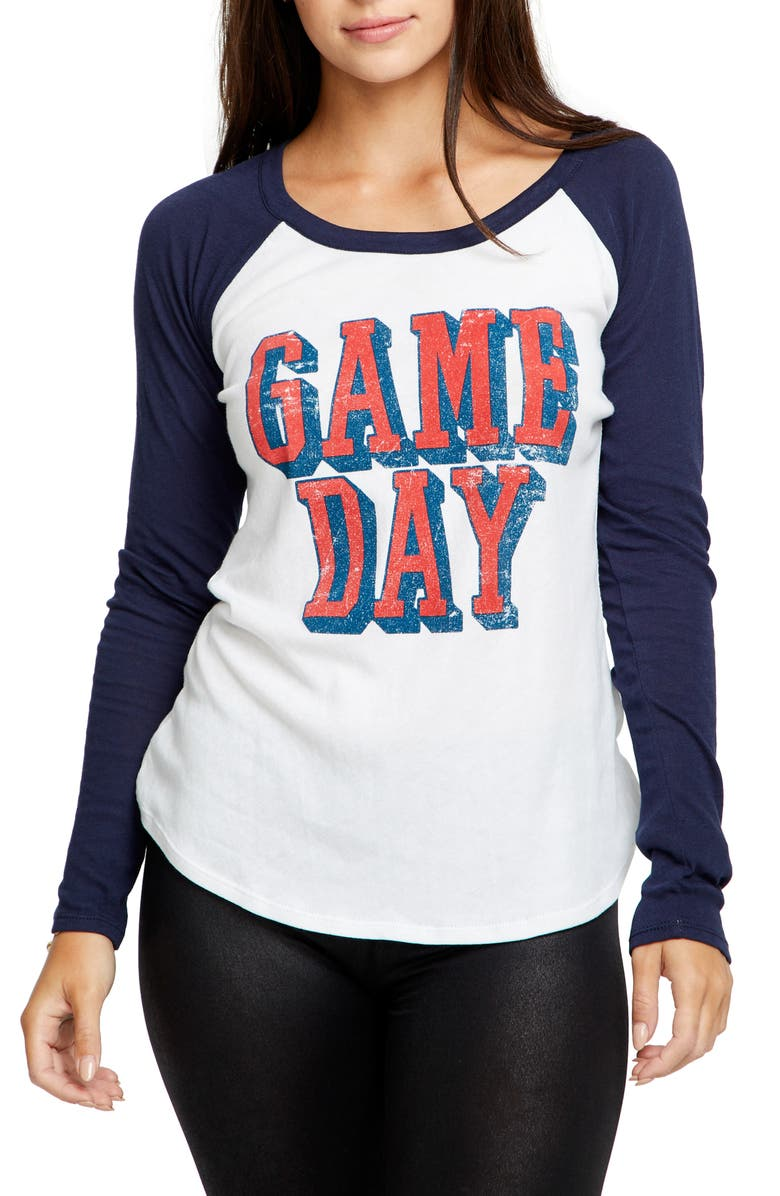 CHASER Game Day Baseball Tee, Main, color, WHITE/ AVALON