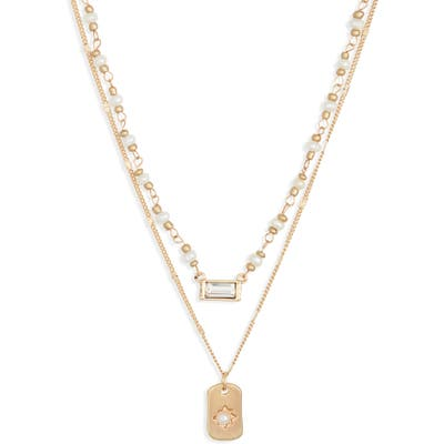 Bp. Set Of 2 Imitation Pearl & Crystal Pendant Necklaces