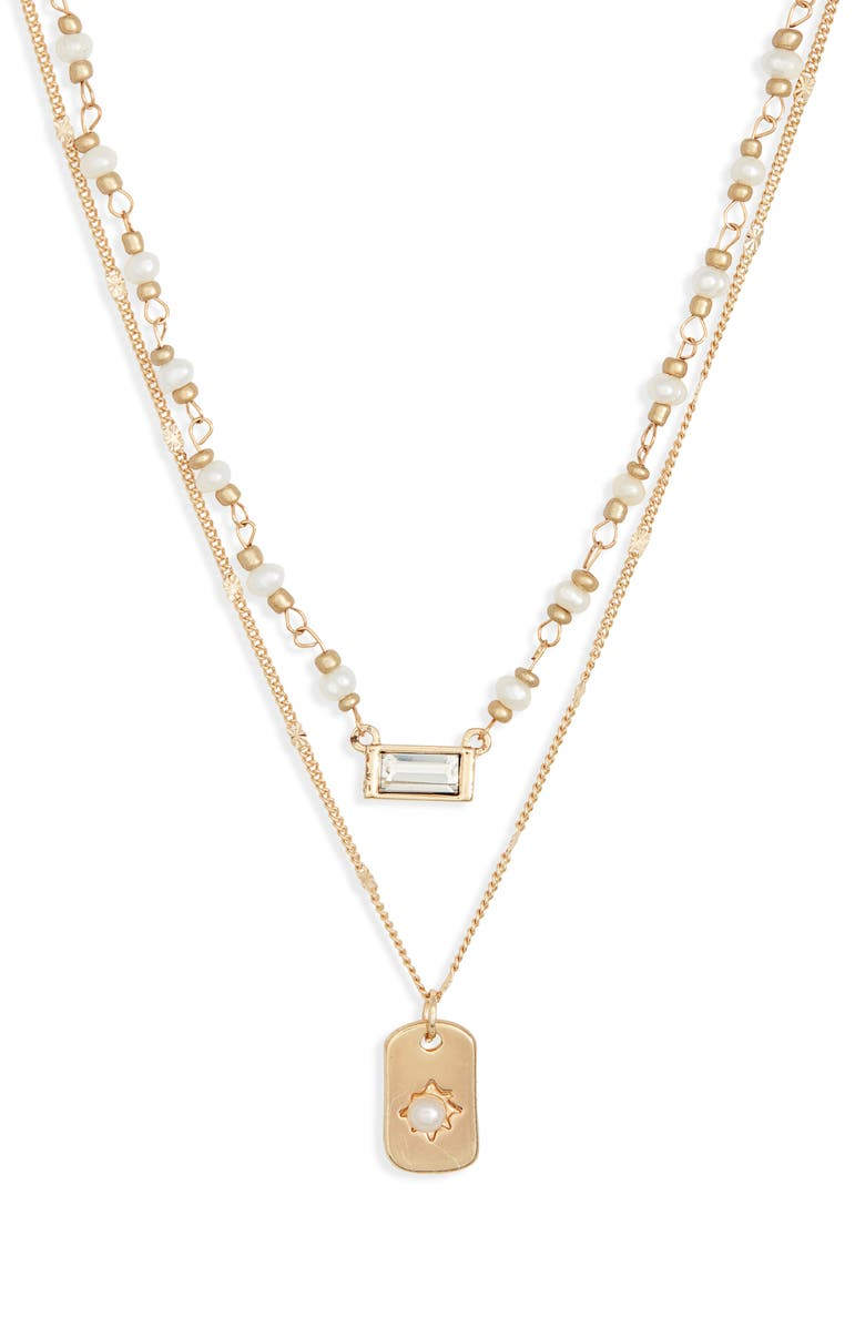 BP. Set of 2 Imitation Pearl & Crystal Pendant Necklaces, Main, color, CLEAR- WHITE- GOLD