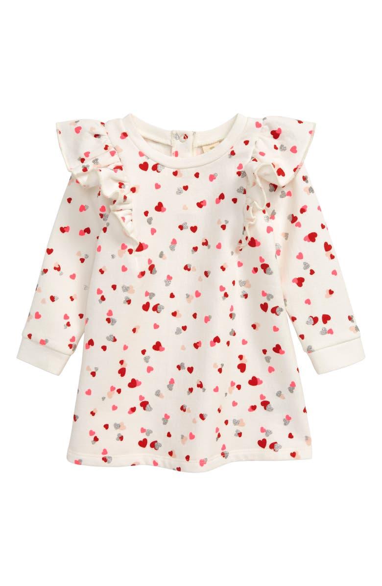 TUCKER + TATE Ruffle Fleece Dress, Main, color, IVORY EGRET HEARTS