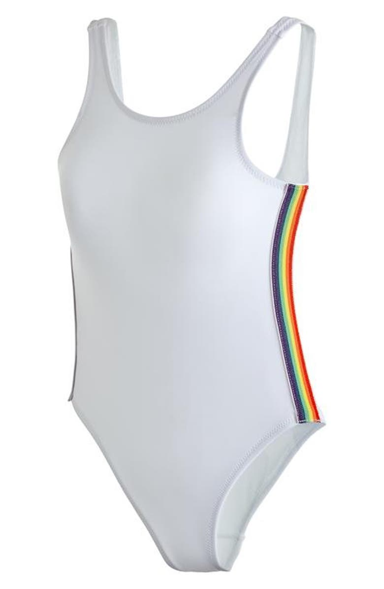 STELLA COVE White Tank Rainbow Stripe Swimsuit, Main, color, WHITE