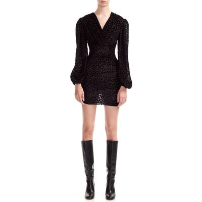 Maje Reine Burnout Dot Long Sleeve Minidress, 8 FR - Black