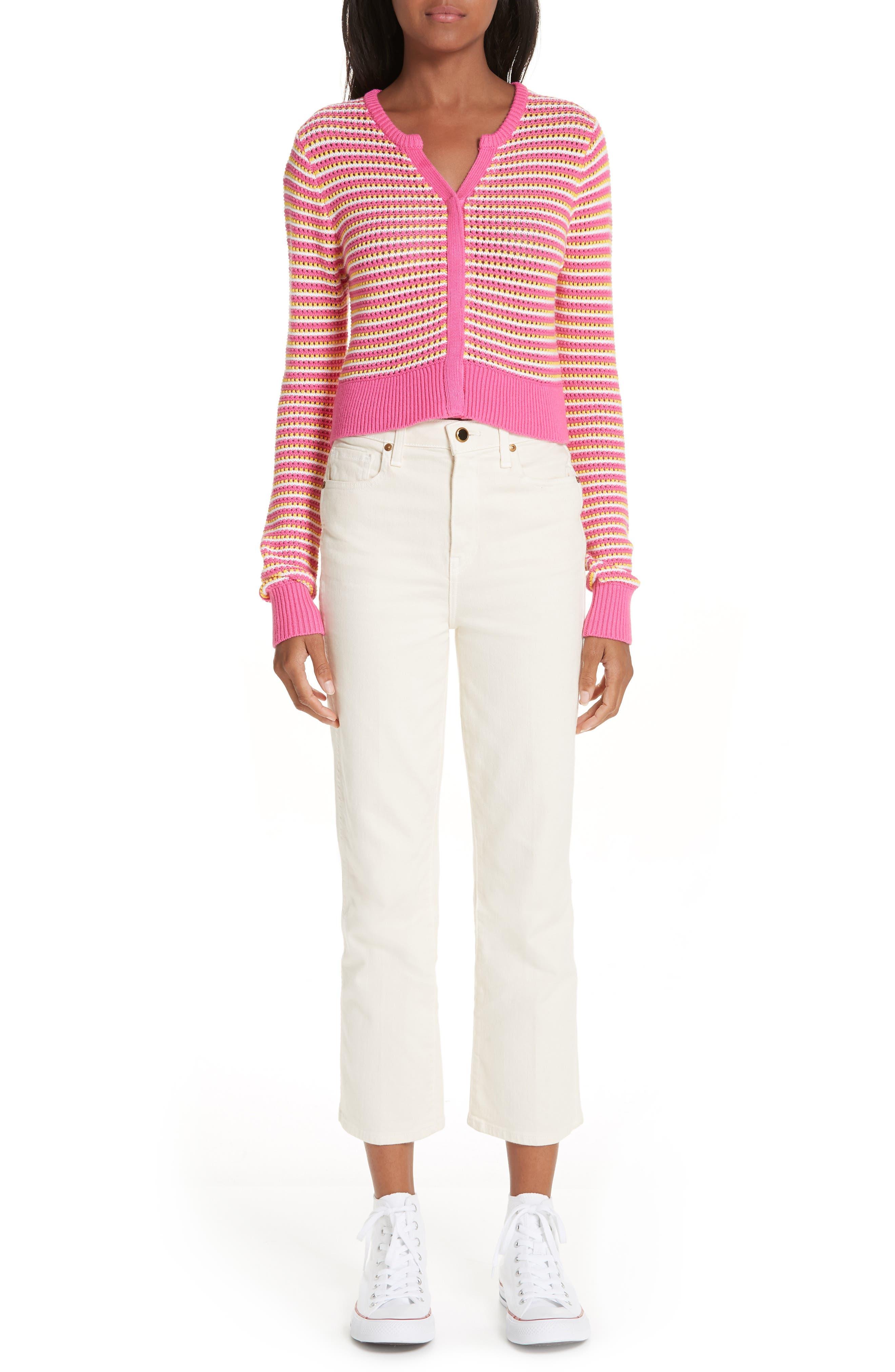 ,                             Stripe Cotton & Cashmere Button Cardigan,                             Alternate thumbnail 7, color,                             WHITE PINK COMBO